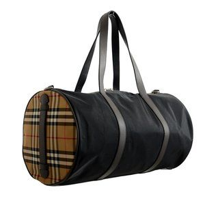 Burberry Leather Trimmed Duffel Travel Bag